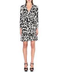 Diane von Furstenberg T72 Silk Wrap Black and White Dress - Lyst