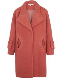 Carven Pink Pocket Detail Cocoon Coat - Lyst