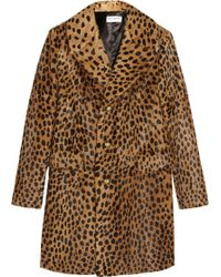 Saint Laurent Leopard-Print Goat Hair Coat - Lyst