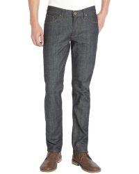 James Jeans - Raw Dark Wash Stretch Cotton Straight Leg 'tom' Jeans - Lyst