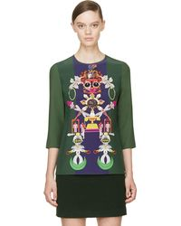 Mary Katrantzou Green Silk Spellbound Clocktopia Top - Lyst
