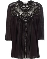 Zimmermann Black Filigree Lace Bib Top - Lyst