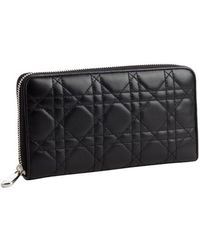 Dior Black Cannage Leather Zip Wallet - Lyst