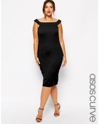 Asos Curve Exclusive Bardot Dress in Texture in Longer Length - Lyst