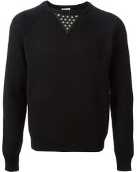 Saint Laurent Stud Detail Sweater black - Lyst