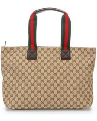 Gucci Beige Embroidered Canvas Diaper Bag Tote - Lyst