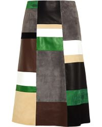 Derek Lam Patchwork Leather and Suede Skirt - Lyst