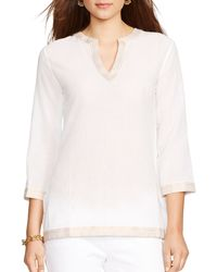 Ralph Lauren Lauren Metallic Trim Cotton Tunic - Lyst