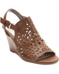 Report - Sansa Laser Cut Wedge Sandals - Lyst