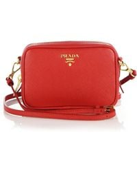 Prada Red Saffiano Leather Convertible Top Handle Bag in Khaki ...