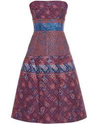 Mary Katrantzou Kelly Jacquard Strapless Dress blue - Lyst