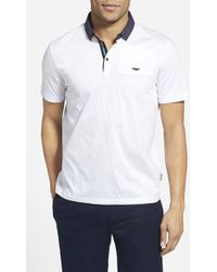 Ted Baker 'Gabes' Slim Fit Woven Collar Polo - Lyst