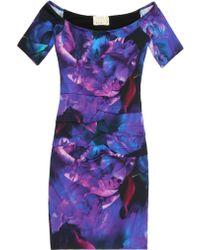 Nicole Miller Off Shoulder Fire Flower Dress - Lyst