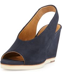 Coclico Nells Perforated Wedge Sandal Navy - Lyst