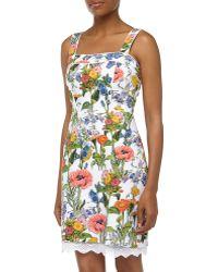 Muse - Sleeveless Floral-Print Sateen Dress - Lyst
