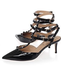 Valentino Black Rockstud So Noir 65 Patent Leather Sling-Back Stiletto Pumps - Lyst