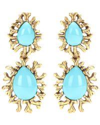 Oscar de la Renta Coral Branch Clip-On Earrings - Lyst