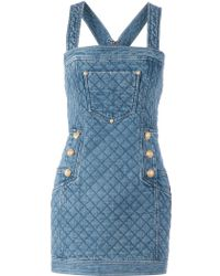 Balmain Quilted Denim Dress - Lyst