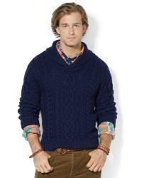Polo Ralph Lauren Aranknit Shawl Sweater - Lyst