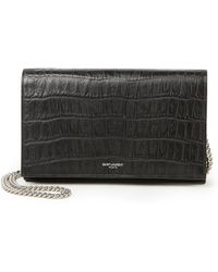 3ab3853b816a ... yves saint laurant bag - monogram saint laurent chain wallet in red  crocodile embossed leather ...