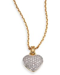 John Hardy Classic Chain Diamond & 18K Yellow Gold Heart Pendant Necklace - Lyst