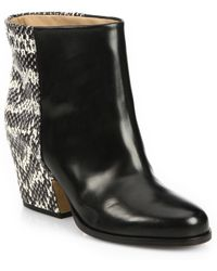 Maison Margiela Snake-Embossed Leather-Paneled Ankle Boots - Lyst