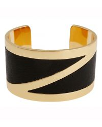 Rachel Zoe 12K Gold Plate And Leather Cuff Bracelet - Lyst
