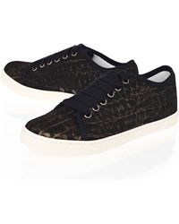Lanvin Black Patoe Rina Metallic Leather Laceup Trainers - Lyst