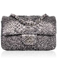 225debe63af8 Madison Avenue Couture - Chanel Silver Python Mini Classic 2.55 Flap Bag -  Lyst