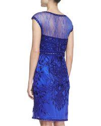 Sue Wong Capsleeve Meshtop Beaded Cocktail Dress Sapphire - Lyst