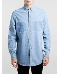 Topman Blue Torn Pocket Skater Shirt - Lyst