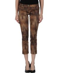 Elisabetta Franchi Gold 3/4-Length Trousers - Lyst