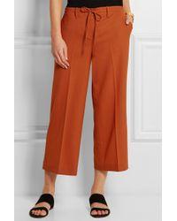 Theory Tennen Cropped Wool Wide-Leg Pants - Lyst