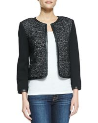 Alice + Olivia Kidman Leather-trim Glittered Jacket - Lyst