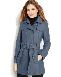 Calvin Klein Double-breasted Belted Peacoat - Lyst
