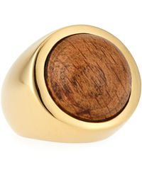 Lizzie Fortunato - 18k Gold Wood Cabochon Ring - Lyst