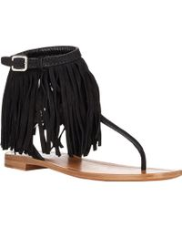 Prada Fringe-Trimmed Double-Buckle Sandals - Lyst