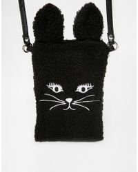 Asos Furry Cat Phone Pouch With Strap - Lyst