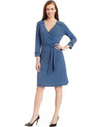 Jones New York Signature Petite Wedgewood Wrap Dress - Lyst