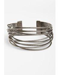 Natasha Couture Women'S 'Criss Cross Lines' Cuff Bracelet - Silver - Lyst