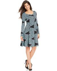 Karen Kane Long-sleeve Printed Fit  Flare Dress - Lyst