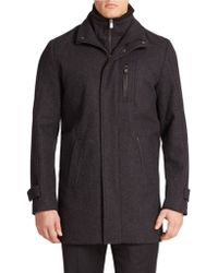Calvin Klein Gray Wool-blend Jacket - Lyst