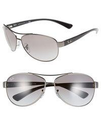 Ray-Ban Women'S 'Bubble Wrap' 63Mm Aviator Sunglasses - Matte Gunmetal/ Grey Gradient - Lyst
