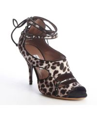 Tabitha Simmons Brown Leopard Print Pony Hair and Leather Strappy Heel Bailey Sandals - Lyst