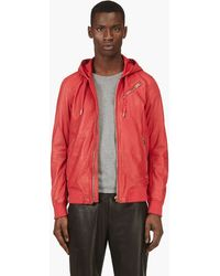 Diesel Red Leather Hooded L_hasso Jacket - Lyst