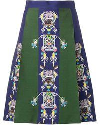 Mary Katrantzou Mecha Tiki Man-Print Skirt green - Lyst