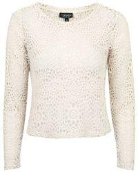 Topshop Petite Long Sleeve Crochet Top - Lyst