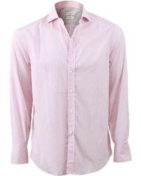 Brunello Cucinelli Striped Spread Collar Shirt pink - Lyst