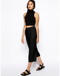 Asos Wide Leg Culottes black - Lyst