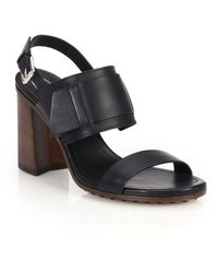 Tod's Stacked-Heel Leather Sandals black - Lyst